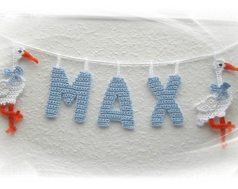 Garland with name, present for the birth, name chain, Stork, decoration crochet baby rooms, baby, name, personal gift,