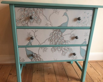SOLD - commissions available - Upycled spray-painted/decoupage vintage chest of drawers