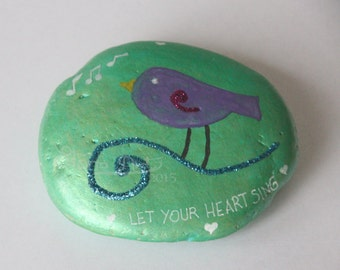"Sparkling iridescent bird pebble ""let your heart sing"""