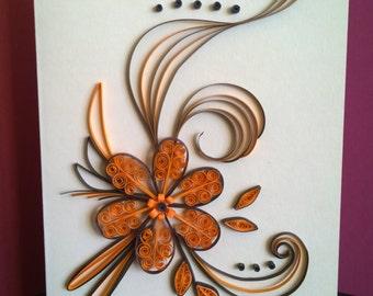 Quilling card, Greeting card, orange flower