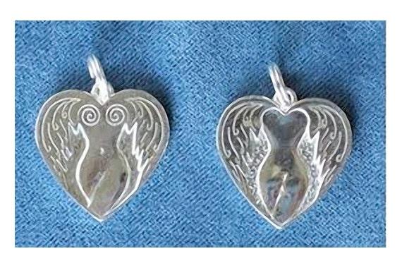 THE FLYING GODDESS Empowerment charm, inspirational jewelry, pendant, heart pendant, goddess jewelry, celebrity jewelry, angel goddess,