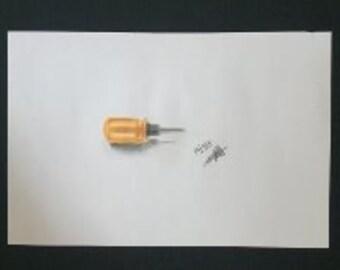 Drawing - Mini Yellow Screwdriver