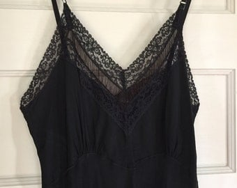 Black Vintage Slip with Lace, Calf Length