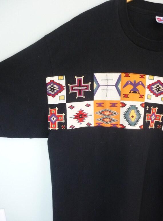 1980s Southwestern T-shirt / Hand Embellished / Black Southwest Oversize Teek / Thunderbird / Unisex Vintage, Modern Large to Extra Large