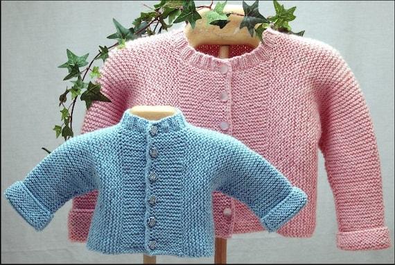 Baby J Cardigan Knitting Pattern, pdf, garter stitch, one-piece from CabinFev...