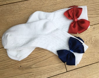 socks with handmade ribbons and flowers