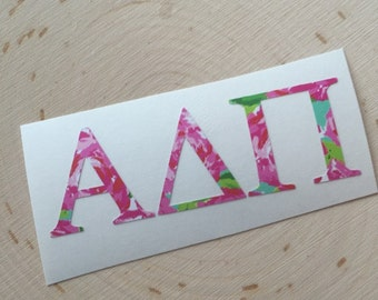 lilly pulitzer inspired sorority decal sorority decal vinyl sorority decal any sorority is available