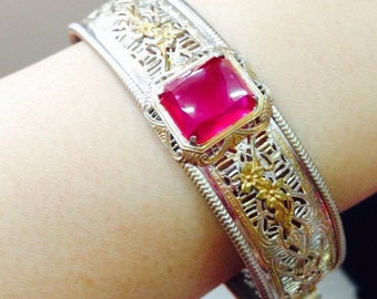 1930's Vintage Bangle with Pink Stone - Art Deco