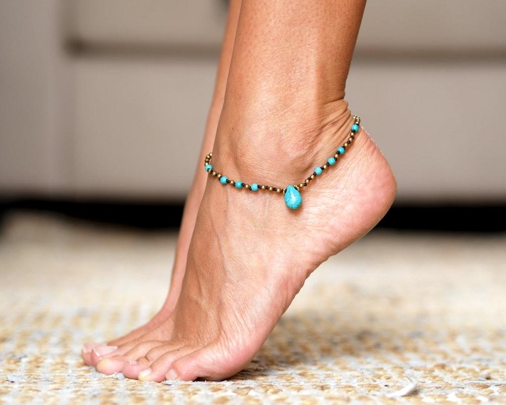 Turquoise Anklets // Beads Anklet // Women Ankle Bracelet
