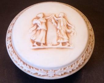 Grecian Image Bisque Porcelain Trinket Box