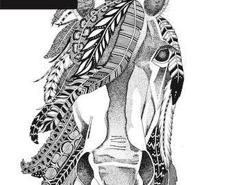 Brumby Print - A4 Unframed Black & White Illustration