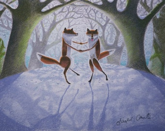 "Dancing foxes print, fine art giclee A4 print of ""Foxtrot"""