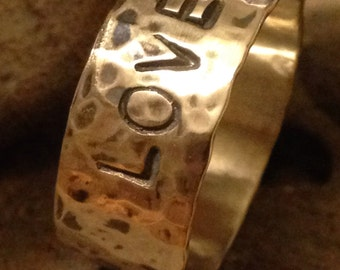 Hammered custom stamped Sterling silver ring