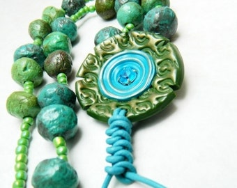 Green and Turquoise Necklace, Flower Pendant, Recycled Jewelry,  Paper Mache Necklace, Bohemian Style Necklace, Rustic Beads Gipsy Necklace