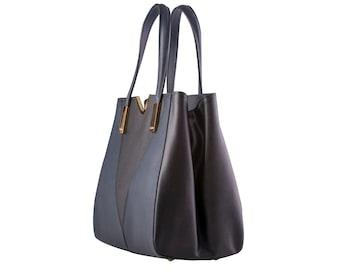 LAFatima Two Tone Colors Leather Bag/Oversize Tote Bag/Leather Bag/Large Leather Tote BagMade in Italy/Leather Work Bag/Handmade Leather Bag