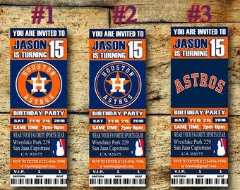 Houston Astros Birthday Ticket Invitation-Houston Astros Sport Ticket Invitation-Printable Personalized-Houston Astros