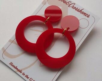 Red Hoop Earrings plain
