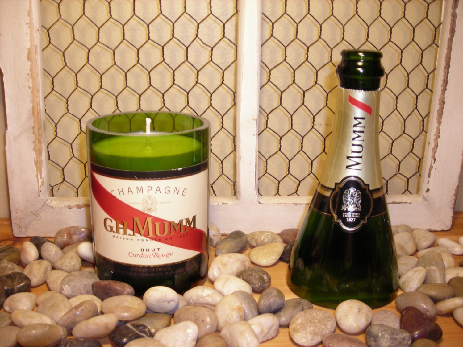 Recycled Champagne Bottle Candle Lavender Cucumber