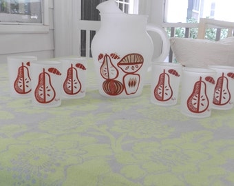 1950's GayFad Frosted Pitcher and Juice Glasses with Fruit