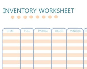 Inventory Worksheet Digital Download