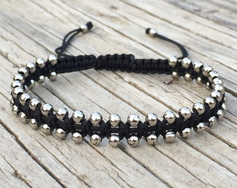 Beaded Bracelet, Beaded Anklet, Adjustable Cord Macrame Friendship Bracelet, Gift for Her, Macrame Jewelry, Stacking Bracelet, Small Gift