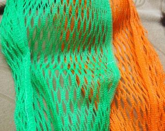 Vintage fruit bags, long mesh bags- one green, one orange-