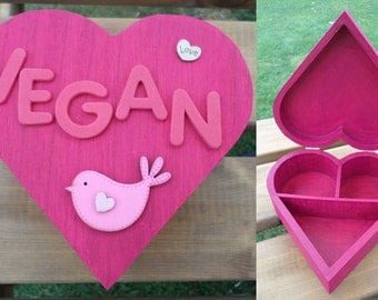 Wooden VEGAN heart trinket / jewellery box