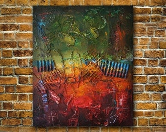 Abstract Oil Painting Contemporary Art Colorful Painting Abstract Mixed Media Art Painting On Canvas Collage Painting for Wall Home decor