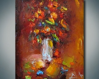 Red Poppy Oil Painting, Floral Art, Modern Art, Still Life, Canvas Wall Art, Abstract Canvas Art, Kitchen Decor, Palette Knife Oil Painting