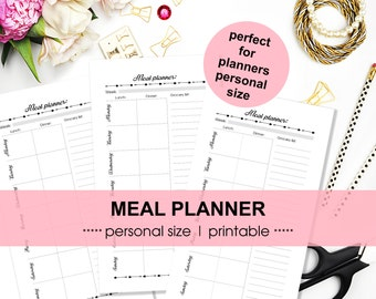 PLANNER INSERTS meal planner | personal size | Filofax | Kikki K medium | menu plan | grocery list | printable PDF | instant download
