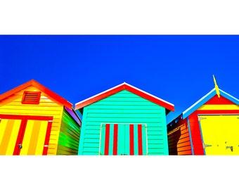 Brighton Beach Boxes Panorama   - Canvas/Decal/Vinyl/Poster