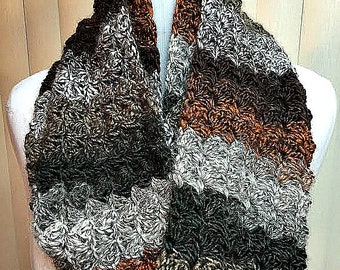 Striped Crochet Scarf, Striped Infinity Scarf, Green Infinity Scarf, Brown Striped Scarf, Striped Knit Scarf, Green Scarf