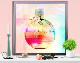 Fashion print, Pink poster, Glamour art framed poster, Wall art, Perfume Wall decor, Pink Wall art, Home Decor, Pink Perfume Print,Perfumes