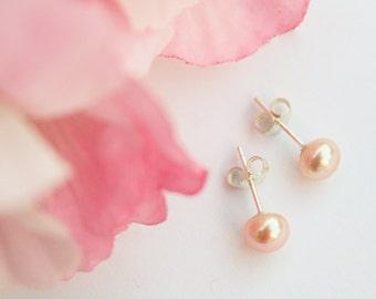 Pink Pearl Earrings, Freshwater Pearl Studs, Bridesmaid Earrings, Bridesmaid Gifts, Flower Girl Earrings, Wedding Freshwater Pearls