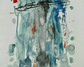 Original paint grey and blue ink on paper