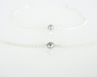Silver Hematine Solitaire Necklace Choker Bracelet, Simple Birthstone Necklace, Dainty Gemstone Choker, Layering Necklace Bracelet