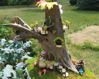 driftwood lodge fairy house fairy garden gnome home forest dwelling ooak