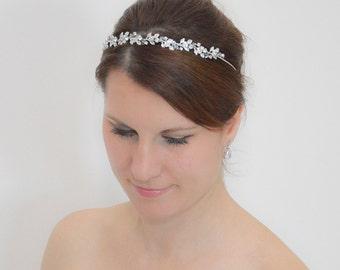 Floral Bridal Tiara, Wedding Flower Headpiece, Thin Crystal Headband, Swarovski Bridal Tiara, Crystal Flower Headband, Flower Headpiece