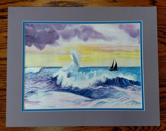 Hand Painted Watercolor Seascape