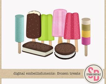 Clipart Summer Digital Embellishments: Frozen Treats