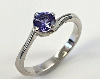 925 Sterling Silver Ring created Tanzanite 0,5 ct. Jewelry.
