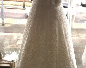 50s Style Lace Tea Wedding Dress