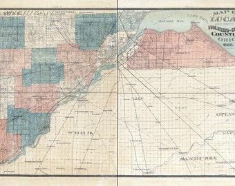 1888 Farm Line Map of Lucas County Ohio Waynesfield