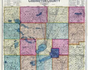 1898 Map of Codington County South Dakota