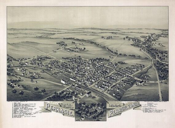 1894 panoramic map of perkasie bucks county pennsylvania for Craft shows in bucks county pa