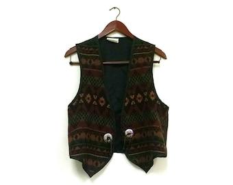 Southwest Bohemian aztec vest // southwestern country western vest // southwestern Aztec vest // wool southwestern vest // Aztec vest