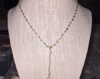 Pearl Blue Jewel Tusk Necklace