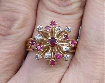 Vintage Designer 14k Yellow Gold Starburst Genuine Pink Sapphire & Diamond Ring