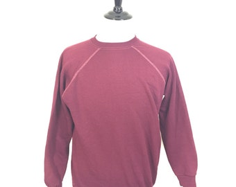 70's burgundy 80/20 cotton poly blend blank sweatshirt size XL