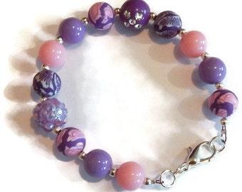 Pink & Purple Bead Bracelet